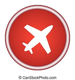 airplane red circle glossy web icon on white background
