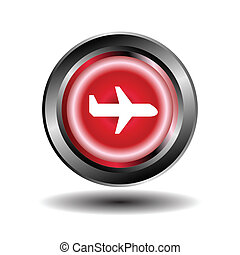 Airplane red circle web glossy icon
