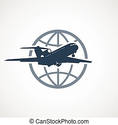 airplane, resa, -, flygning, luft