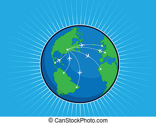 Airplane Route Around the World Glo - A vector image of an...