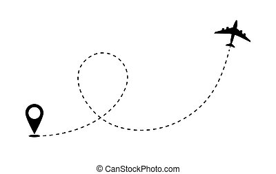 Airplane route path icon. Vector plane flight line trace, travel fly plan