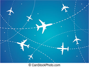 Airplane Routes - Vector Illustration of Airplane Routes And...