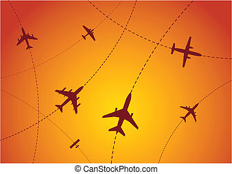 Airplane Routes Sunset