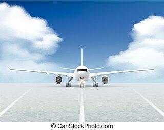 Airplane Runway Poster - White plane prepares to take off...