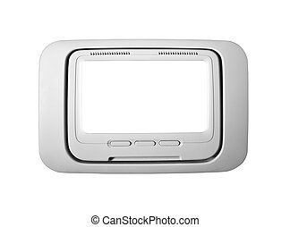 Airplane seat back television isolated with clipping path.