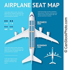 Airplane Seat Map Class Card. Vector - Airplane Seat Map...