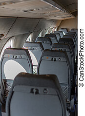 Airplane seats in a row
