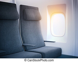 Airplane seats in the cabin with bright window. 3d rendering