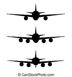 airplane set in black color illustration