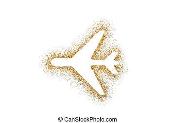 Airplane shape on golden glitter over white background