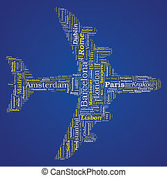 Airplane Shaped Vector Word Cloud - Travel Concept on blue...