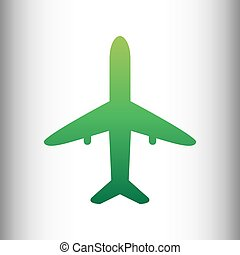 Airplane sign. Green gradient icon