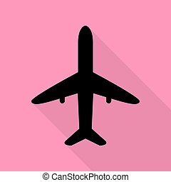 Airplane sign illustration. Black icon with flat style shadow path on pink background.