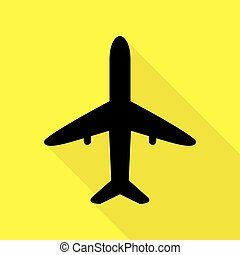 Airplane sign illustration. Black icon with flat style shadow path on yellow background.