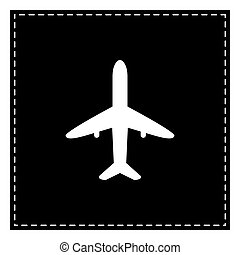 Airplane sign illustration. Black patch on white background. Iso