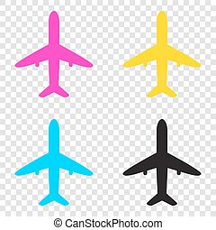 Airplane sign illustration. CMYK icons on transparent background