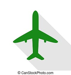 Airplane sign illustration. Green icon with flat style shadow path.