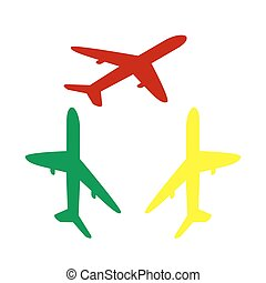 Airplane sign illustration. Isometric style of red, green and yellow icon.