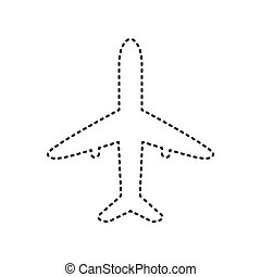 Airplane sign illustration. Vector. Black dashed icon on white background. Isolated.