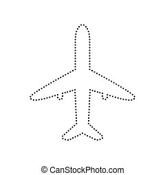 Airplane sign illustration. Vector. Black dotted icon on white background. Isolated.