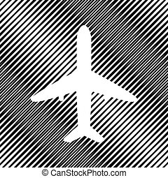 Airplane sign illustration. Vector. Icon. Hole in moire backgrou