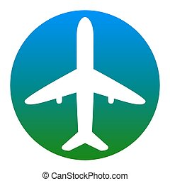 Airplane sign illustration. Vector. White icon in bluish ...