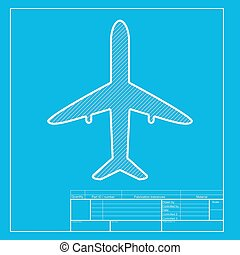 Paper airplane sign white section of icon on blueprint eps airplane sign illustration white section of icon on blueprint template malvernweather Choice Image