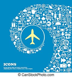 Airplane sign. Plane symbol. Travel icon. Flight flat label . Nice set of beautiful icons twisted spiral into the center of one large icon. Vector