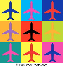 Airplane sign. Pop-art style icons set