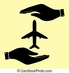 Save or protect symbol by hands. - Airplane sign. Save or...