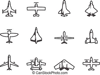 Airplane silhouette icons in black & white.