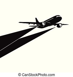 Airplane silhouette on white background.