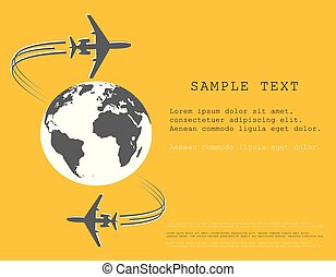 Airplane. Silhouette soaring around the globe. A twisting plane trail. Illustration with space for text. Vector monochrome style.
