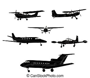 airplane silhouettes - vector