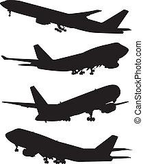 airplane, silhouettes