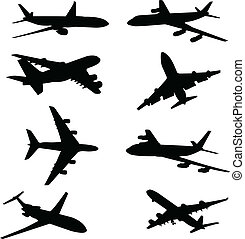 airplane, silhouettes