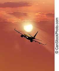 airplane, solnedgång
