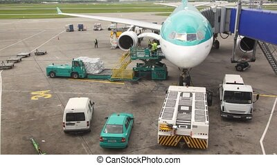 airplane standing at airstrip is loaded with goods by airport workers