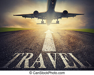 Airplane starts to fly. concept of travel way