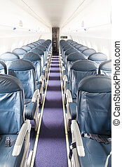 Airplane - Dark Blue Seats in a Empty Jet Airplane