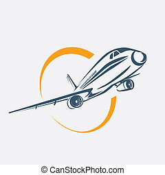 airplane symbol, aircraft stylized vector icon