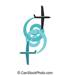 Airplane symbol. Design logo.