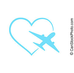 Airplane symbol in shape heart isolated on white background