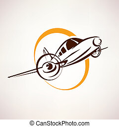 airplane symbol, light aircraft stylized vector icon