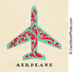 Airplane symbol. Retro poster