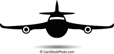 airplane symbol silhouette black icon front view