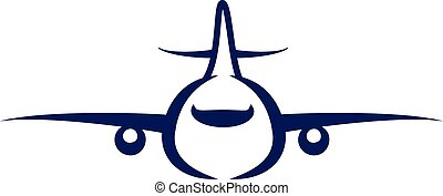 airplane symbol silhouette blue icon front view