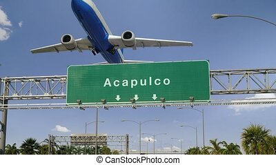 Airplane Take off Acapulco - Airplane flying over airport...