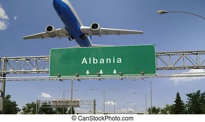 Airplane Take off Albania - Airplane flying over airport...