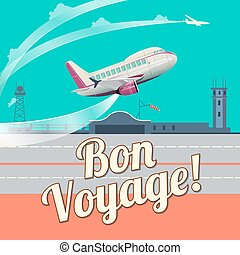 Airplane take off flat vector illustration